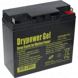 Drypower 12GB17C 12V 17Ah Sealed Lead Acid Gel Deep Cycle Battery replaces CBG12V18AH, HZY-MR12-18, LPG12-17, LG17-12, GF12014YF, GOLF