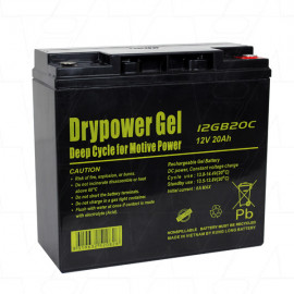 Drypower 12GB20C 12V 20Ah Sealed Lead Acid Gel Deep Cycle Battery