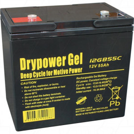 Drypower 12V 55Ah Sealed Lead Acid Gel Deep Cycle Battery